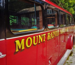 Vintage Tour Bus in Mount Rainier National Park 2traveldads.com