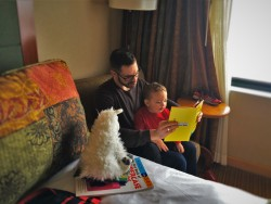 Chris Taylor and TinyMan reading stories at Inverness Hotel Denver Colorado 1