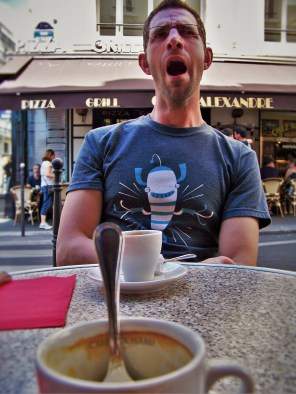 Chris Taylor in Cafe after Louvre Paris 1