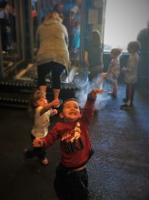 LittleMan Popping bubbles at Childrens Museum of Denver 2