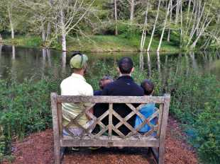 Taylor Family by still pond at Bloedel Reserve Bainbridge Island 1