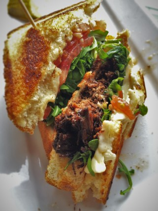 Three Cheese Short Rib Grilled Cheese Sandwich at Fireside Lounge at Inverness Hotel Denver Colorado 1