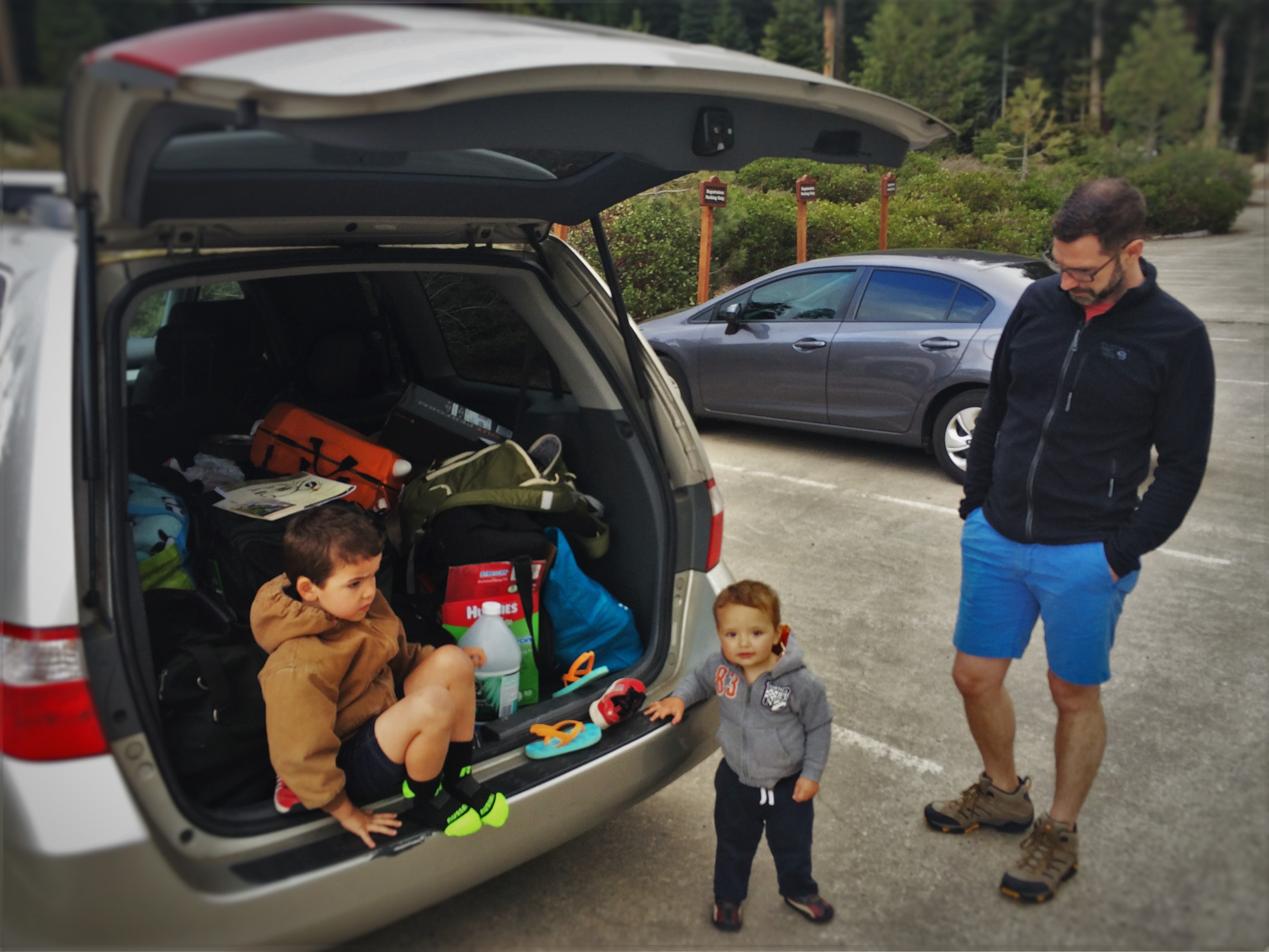 Chris Taylor and Dudes unloading car at Wuksachi Lodge in Sequoia National Park 1