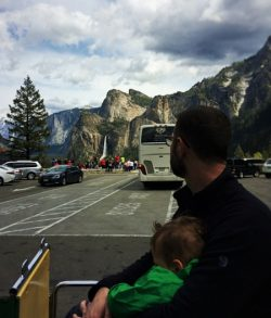 Chris Taylor and TinyMan at Tunnel View in Yosemite National Park 2traveldads.com (1)