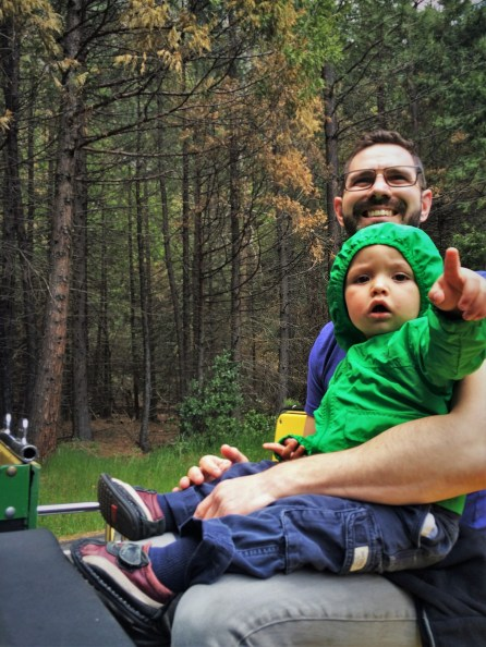 Chris Taylor and TinyMan on tram tour of Yosemite Valley Floor in Yosemite National Park 1