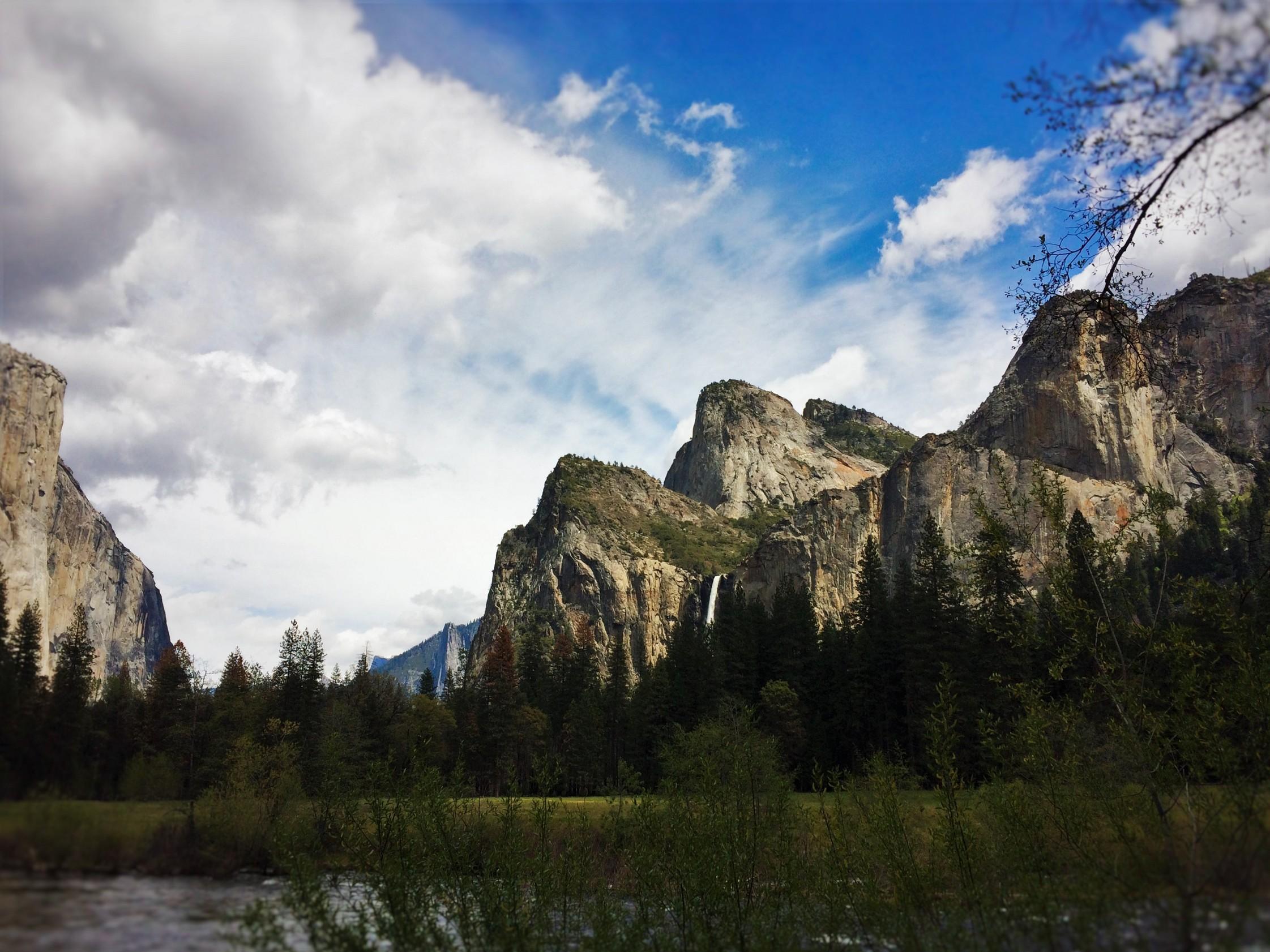Granite Peaks in Yosemite Valley from tram tour of Yosemite Valley Floor in Yosemite National Park 1