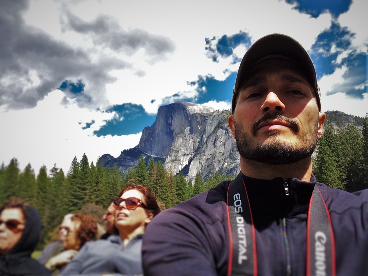 Rob Taylor and Half Dome from Valley Floor in Yosemite National Park 2traveldads.com