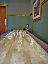 LittleMan playing shuffleboard at Evergreen Lodge at Yosemite National Park 1