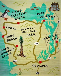 Olympic Peninsula Vintage Map