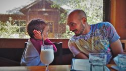 Rob Taylor and LittleMan having lunch at Evergreen Lodge at Yosemite National Park 1