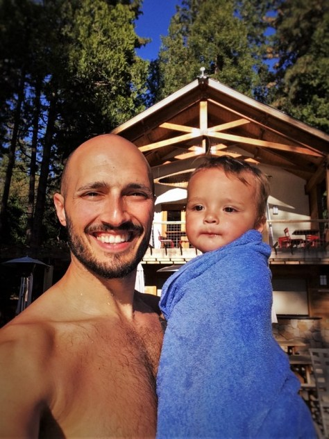 Rob Taylor and TinyMan at Swimming Pool at Evergreen Lodge at Yosemite National Park 2