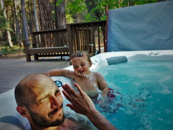Rob Taylor and TinyMan in Hot tub at John Muir House at Evergreen Lodge at Yosemite National Park 2