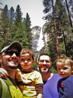 Taylor Family at Yosemite Falls from Yosemite Valley Floor in Yosemite National Park 1