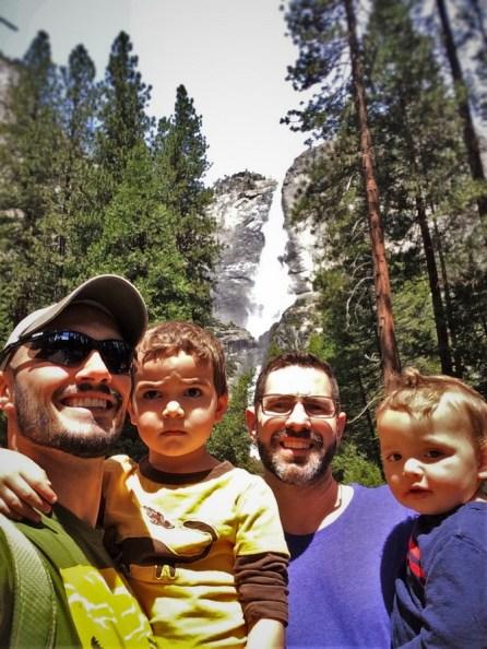 Taylor Family at Yosemite Falls from Yosemite Valley Floor in Yosemite National Park 1