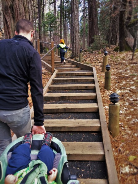 Taylor Family climbing stairs on walking path at Evergreen Lodge at Yosemite National Park 1