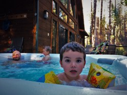Taylor Family in Hot tub at John Muir House at Evergreen Lodge at Yosemite National Park 2