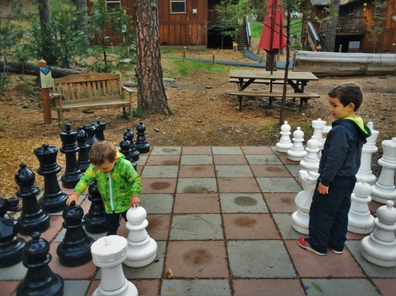 Taylor Kids playing mega chess at Evergreen Lodge at Yosemite National Park 1