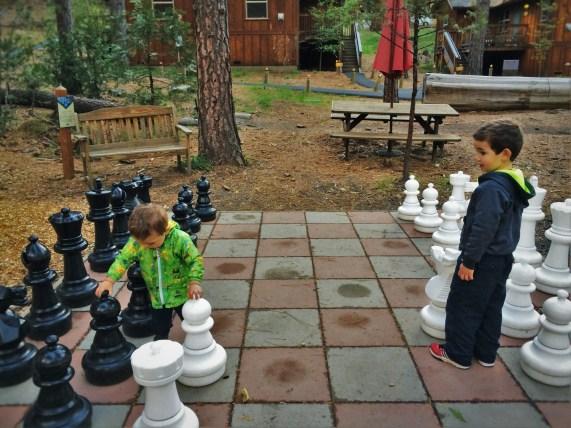 Taylor Kids playing mega chess at Evergreen Lodge at Yosemite National Park 1