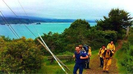 Chris Taylor hiking with firemen at Trinidad Head Lighthouse 2traveldads.com