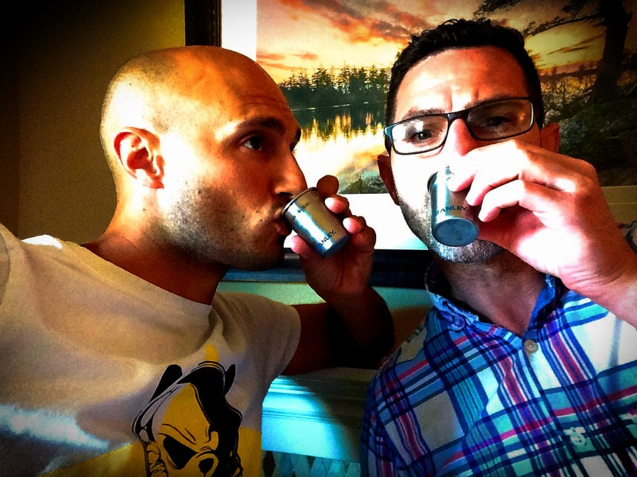 Chris and Rob Taylor sipping from Stanley stainless steel shot glasses