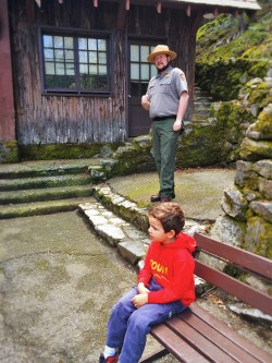 LittleMan at Oregon Caves National Monument visitors center with Rangerq