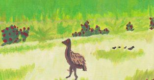 Watercolor of Emu en Deiva Marina by Rob Taylor