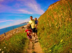 Taylor family hiking on bluff at Fort Casey Whidbey Island 1