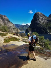 Chris Taylor crossing creek at Hetch Hetchy Yosemite National Park 5
