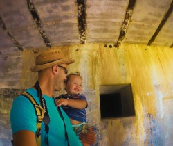 Rob Taylor and TinyMan at bunkers at Fort Casey Whidbey Island 2