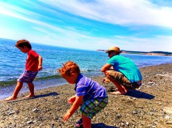 Rob Taylor and kids on beach at Fort Casey Whidbey Island 1