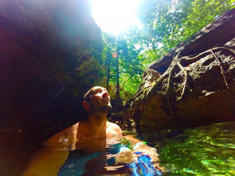 Rob Taylor swimming in Cenotes Dos Ojos Playa Del Carmen Mexico
