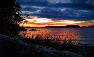 Sunset with beach grass at Washington Park Anacortes 1