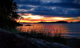 Sunset with beach grass at Washington Park Anacortes 1