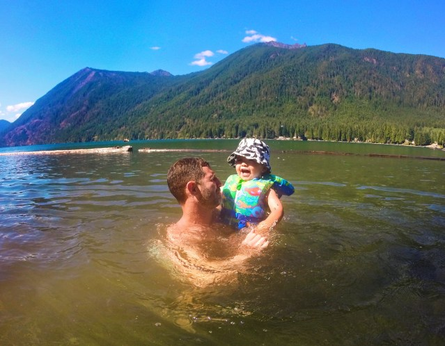 Chris Taylor and LittleMan playing in Lake Cushman Olympic Peninsula 2