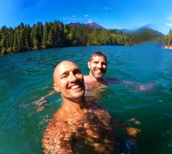 Chris and Rob Taylor Swimming at Lake Cushman 1