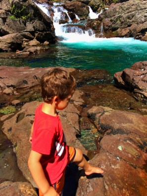 LittleMan playing on rocks at Silver Falls Mt Rainier National Park 1