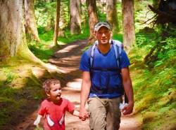 Rob Taylor and Kids hiking at Silver Falls Mt Rainier National Park 1