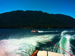 Taylor Family inner tubing on Lake Cushman Olympic Peninsula 2
