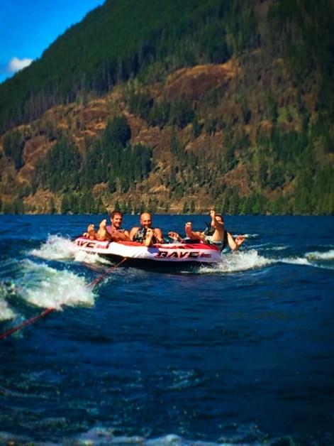 Taylor Family inner tubing on Lake Cushman Olympic Peninsula 3