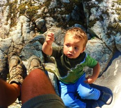 TinyMan playing on rocks at Silver Falls Mt Rainier National Park 1