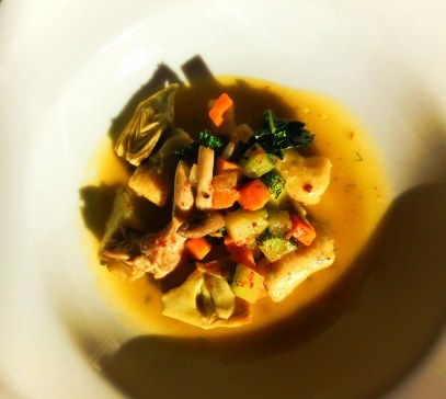 Artichoke Root Vegetable Zucchini soup Pretty Fork Destination Dining Inn at Ships Bay Orcas Island 1