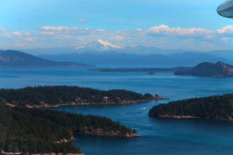 Mount Baker beyond San Juan Islands from Seaplane 1