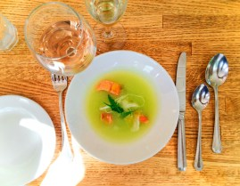 Smoked salmon melon cold soup Destination Dining Pretty Fork Inn at Ships Bay Orcas Island 1