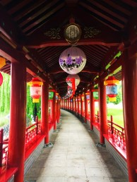 Chinese lanterns and reflecting pond at Tang Paradise Xian Imperial Garden 1