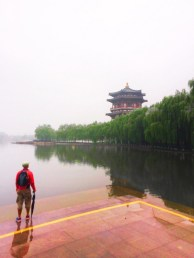 Rob Taylor at reflecting pond at Tang Paradise Xian Imperial Garden