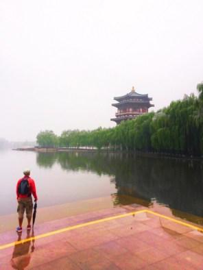 Rob Taylor at reflecting pond at Tang Paradise Xian Imperial Garden