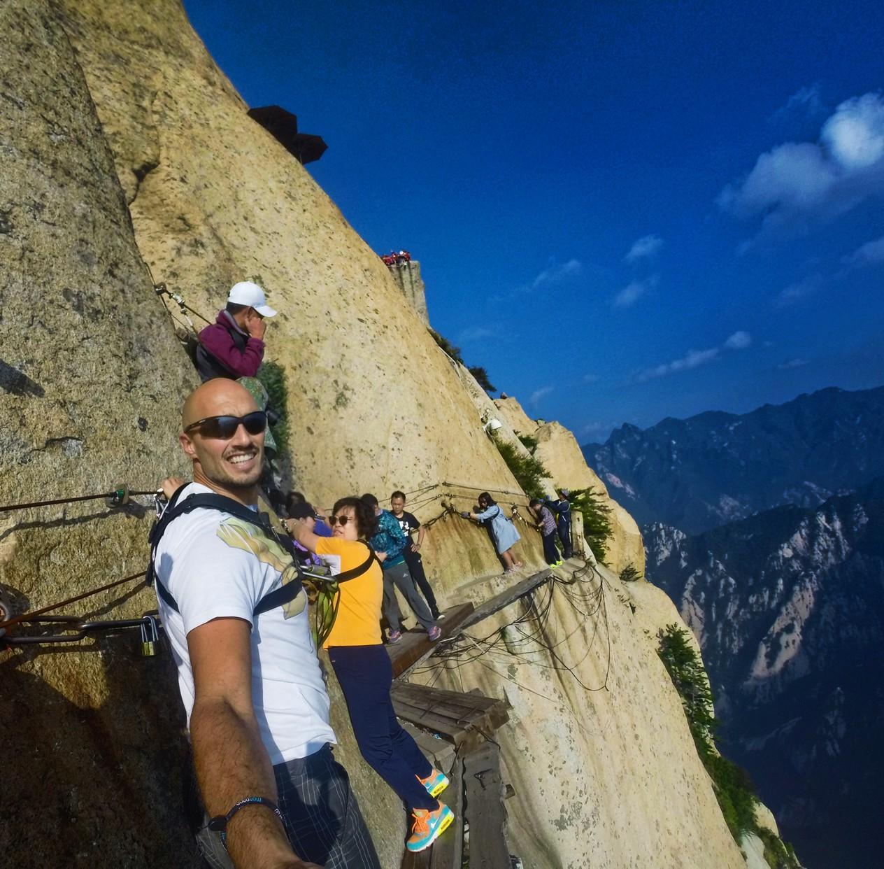 Rob Taylor on Death Planks hike Huashan National Park 2