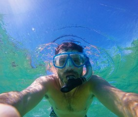 Chris Taylor snorkeling in Cabo