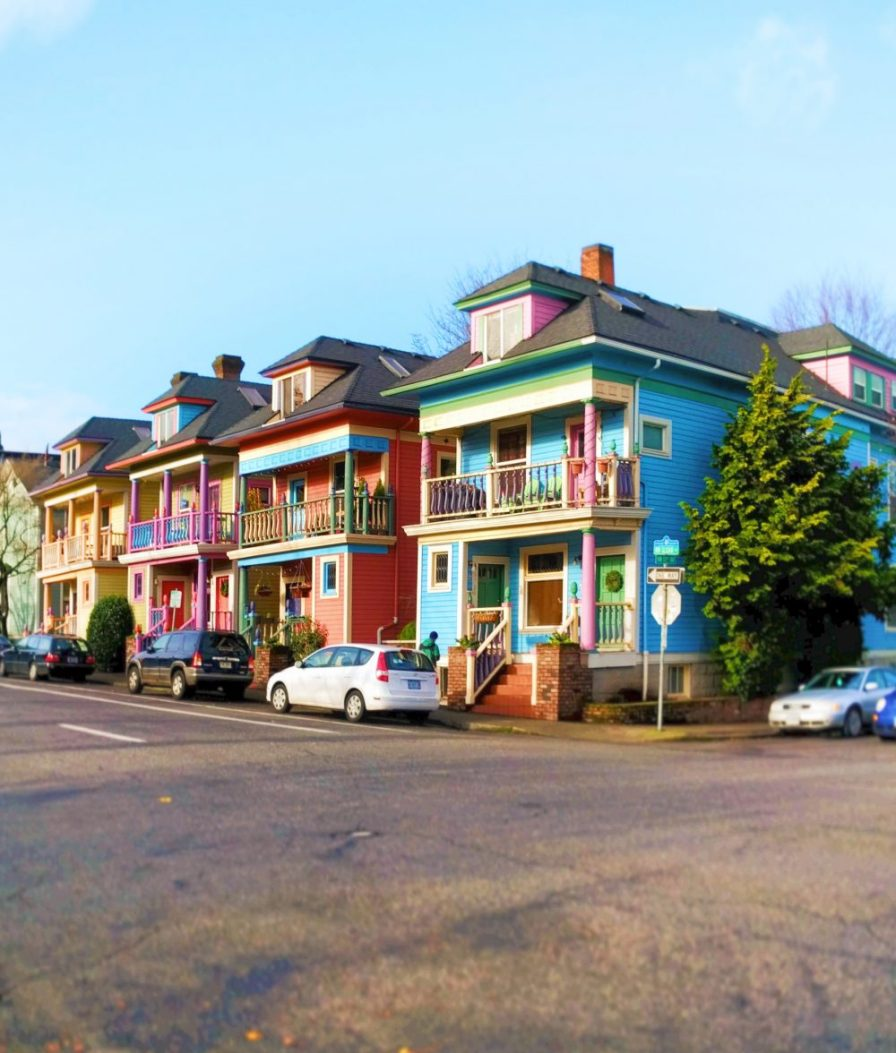 Colorful row houses in Northwest Portland 1