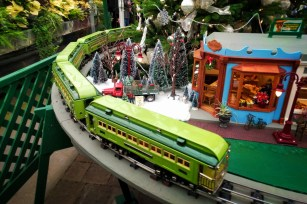 Electric Train at Christmas in Volunteer Park Conservatory Capitol Hill Seattle 1